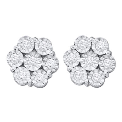 10kt White Gold Womens Round Illusion-set Diamond Flower Cluster Earrings 1 Cttw