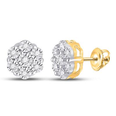 10kt Yellow Gold Womens Round Diamond Flower Cluster Earrings 1/10 Cttw