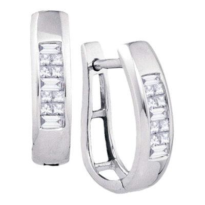 10k White Gold Baguette Princess Channel-Set Diamond Womens Hoop Earrings 1/3 Cttw