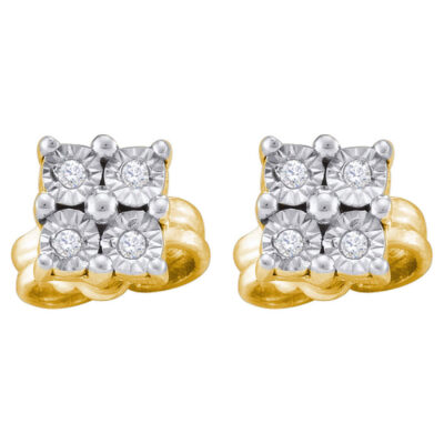 Yellow-tone Sterling Silver Womens Round Diamond Cluster Earrings 1/20 Cttw