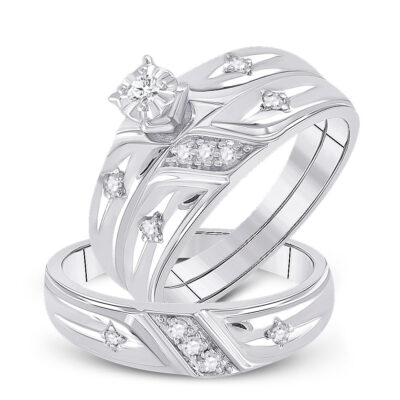 Sterling Silver His Hers Round Diamond Cross Matching Wedding Set 1/5 Cttw