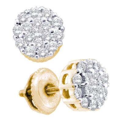 14kt Yellow Gold Womens Round Diamond Flower Cluster Earrings 1/2 Cttw