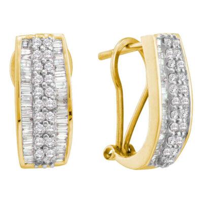 14kt Yellow Gold Womens Baguette Round Diamond Hoop Earrings 7/8 Cttw