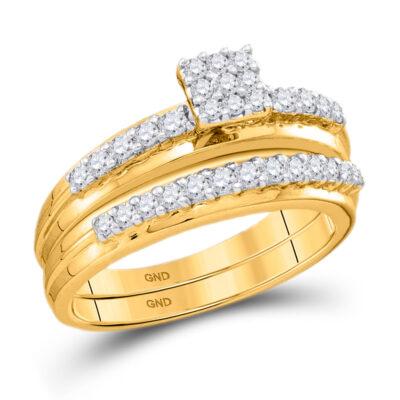 14k White Gold Round Diamond Cluster Bridal Wedding Ring Band Set 1/2 Cttw