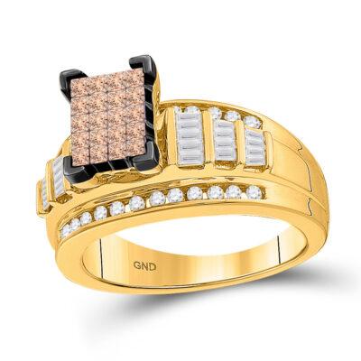 14kt Yellow Gold Princess Brown Diamond Cluster Bridal Wedding Engagement Ring 1 Cttw