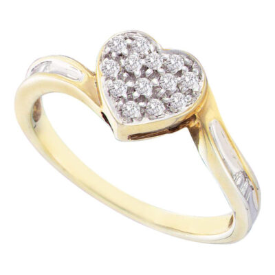 Yellow-tone Sterling Silver Womens Round Diamond Heart Ring 1/8 Cttw
