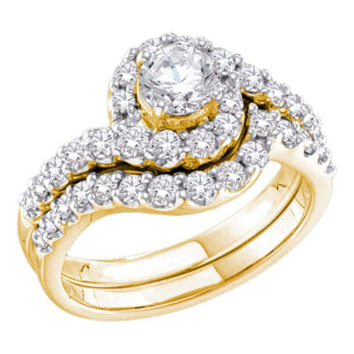 14kt Yellow Gold Round Diamond Bridal Wedding Ring Band Set 1-3/8 Cttw