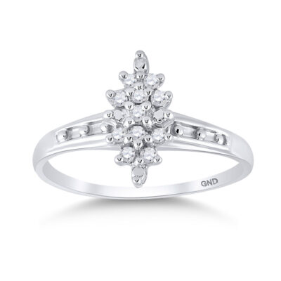Sterling Silver Womens Round Diamond Cluster Ring 1/10 Cttw