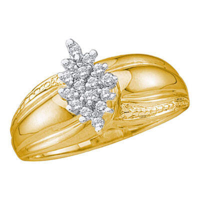 Yellow-tone Sterling Silver Womens Round Diamond Oval Cluster Fashion Ring 1/6 Cttw