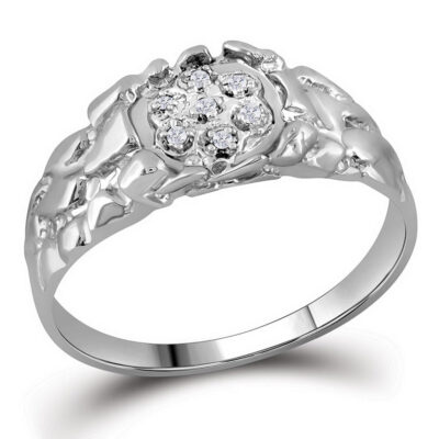 Sterling Silver Mens Round Diamond Cluster Nugget Ring 1/20 Cttw
