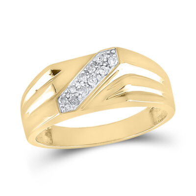 Yellow-tone Sterling Silver Mens Round Diamond Band Ring 1/10 Cttw