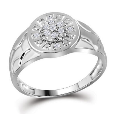 Sterling Silver Mens Round Diamond Nugget Cluster Fashion Ring 1/8 Cttw