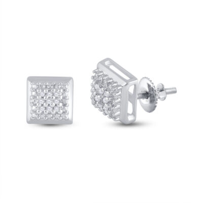 Sterling Silver Womens Round Diamond Square Earrings 1/10 Cttw