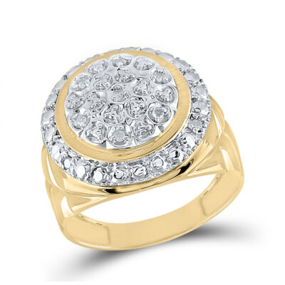 Yellow-tone Sterling Silver Mens Round Diamond Cluster Fashion Ring 1/10 Cttw