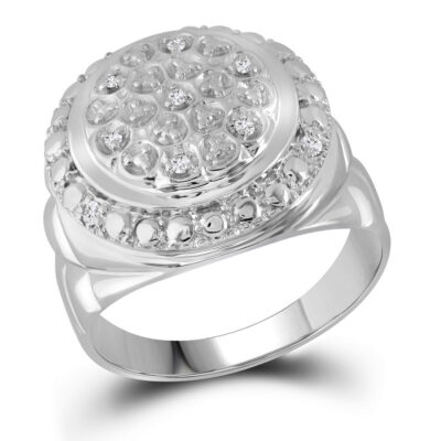 Sterling Silver Mens Round Diamond Circle Fashion Ring 1/10 Cttw