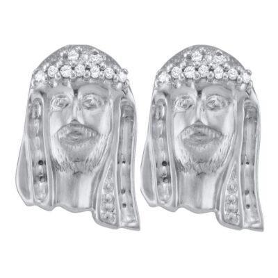 Sterling Silver Mens Round Diamond Jesus Face Stud Earrings 1/10 Cttw