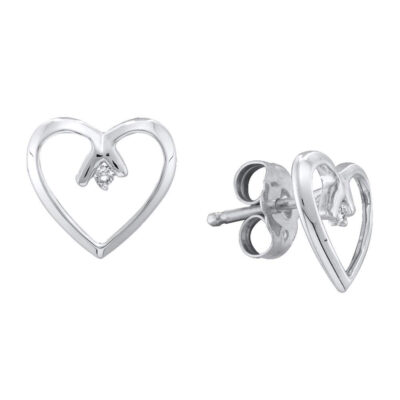 10kt Two-tone Gold Womens Round Diamond Heart Earrings .02 Cttw