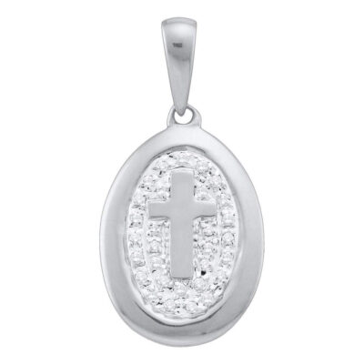 10k White Gold Diamond-accented Womens Cross Dainty Small Oval Pendant 1/10 Cttw
