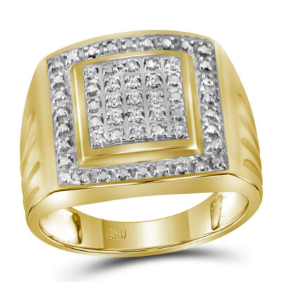 Yellow Tone Sterling Silver Mens Round Diamond Square Frame Cluster Ring 1/10 Cttw - Size 9