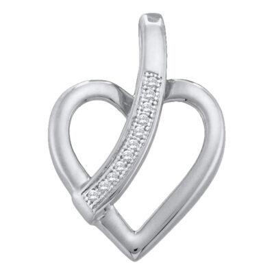 10kt White Gold Womens Round Diamond Heart Pendant .03 Cttw
