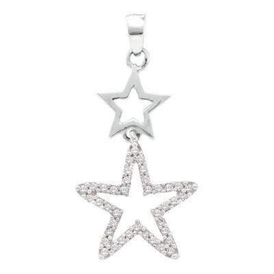 10kt White Gold Womens Round Diamond Star Pendant 1/10 Cttw