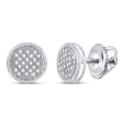 10kt White Gold Womens Round Diamond Circle Earrings 1/6 Cttw