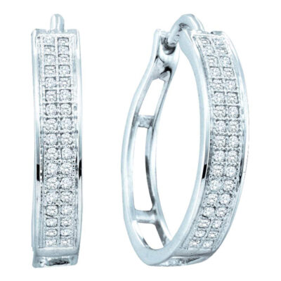10kt White Gold Womens Round Diamond Hoop Earrings 1/5 Cttw