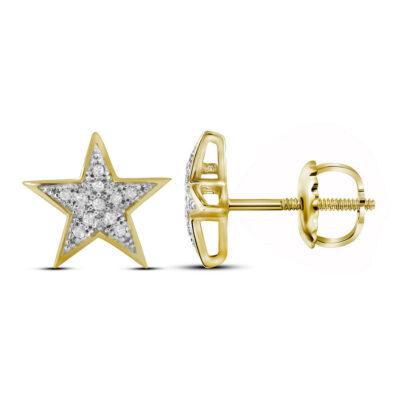 10kt Yellow Gold Womens Round Diamond Star Earrings 1/20 Cttw