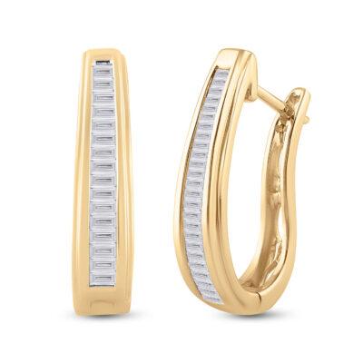 10kt Yellow Gold Womens Baguette Diamond Hoop Earrings 1/2 Cttw