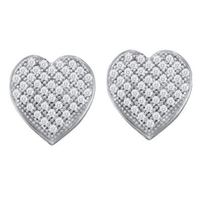 10kt White Gold Womens Round Diamond Heart Earrings 1/4 Cttw