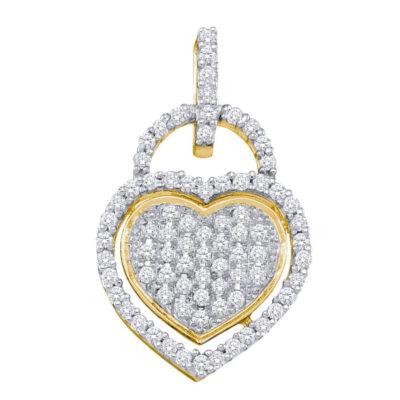 10kt Yellow Gold Womens Round Diamond Heart Lock Pendant 1/4 Cttw