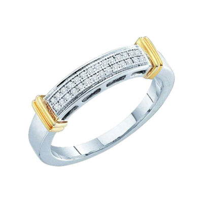 10kt Two-tone Gold Womens Round Diamond Band Ring 1/12 Cttw