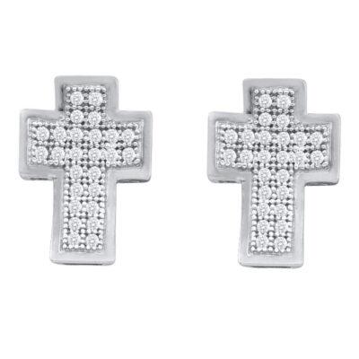 10kt White Gold Womens Round Diamond Cross Earrings 1/6 Cttw