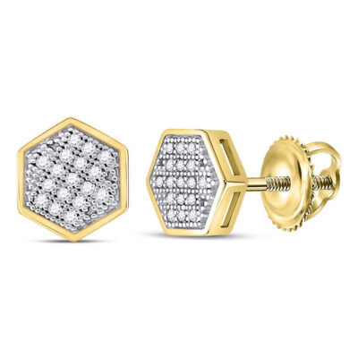10kt Yellow Gold Mens Round Diamond Hexagon Earrings 1/10 Cttw