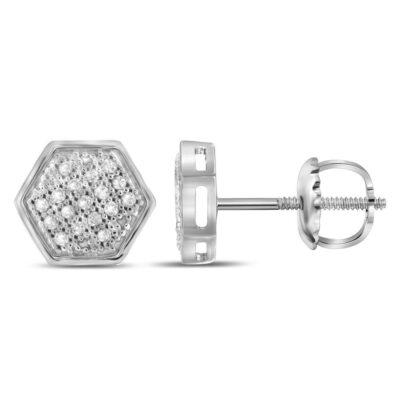10kt White Gold Mens Round Diamond Hexagon Cluster Stud Earrings 1/10 Cttw