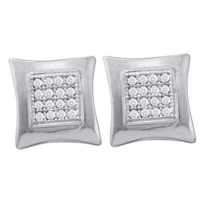 10k White Gold Unisex Diamond Kite Square Stud Earrings 1/10 Cttw