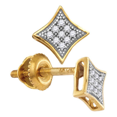 Yellow-tone Sterling Silver Womens Round Diamond Square Kite Earrings 1/20 Cttw