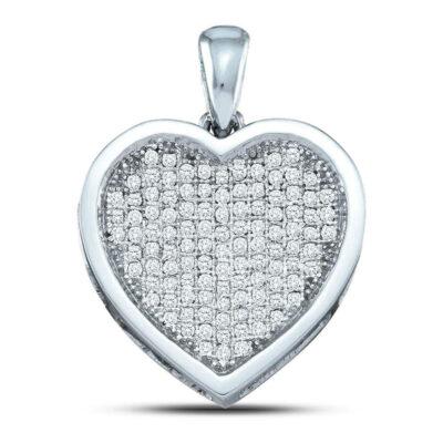 10kt White Gold Womens Round Diamond Heart Pendant 1 Cttw