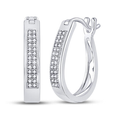 10kt White Gold Womens Round Diamond Hoop Earrings 1/6 Cttw