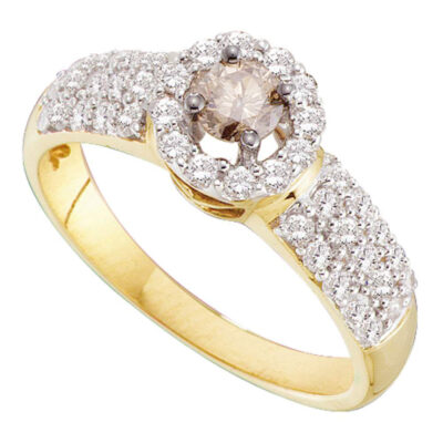 14kt Yellow Gold Round Brown Diamond Solitaire Halo Bridal Wedding Engagement Ring 3/4 Cttw