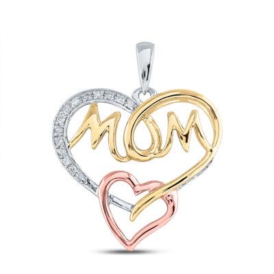 Tri-Tone Sterling Silver Womens Round Diamond Mom Heart Pendant 1/20 Cttw