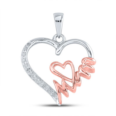 Two-tone Sterling Silver Womens Round Diamond Mom Heart Pendant 1/20 Cttw