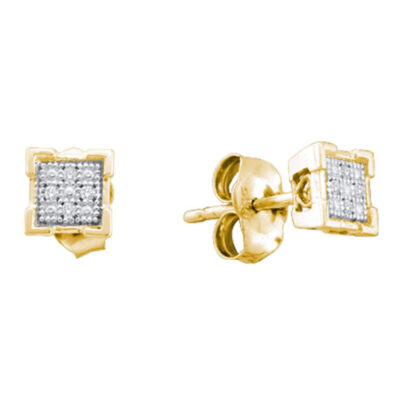 Yellow-tone Sterling Silver Womens Round Diamond Square Earrings .03 Cttw