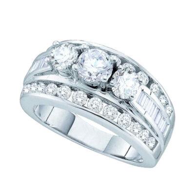 14k White Gold Round Diamond 3-stone Bridal Wedding Engagement Ring 1 Cttw