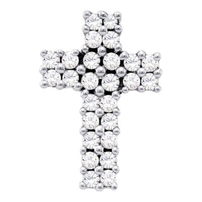 14kt White Gold Womens Round Diamond Cross Pendant 1/3 Cttw
