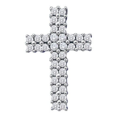 14kt White Gold Womens Round Diamond Cross Pendant 1/2 Cttw