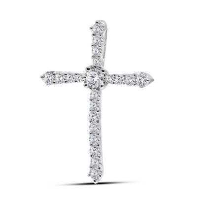 14kt White Gold Womens Round Diamond Cross Pendant 1/4 Cttw