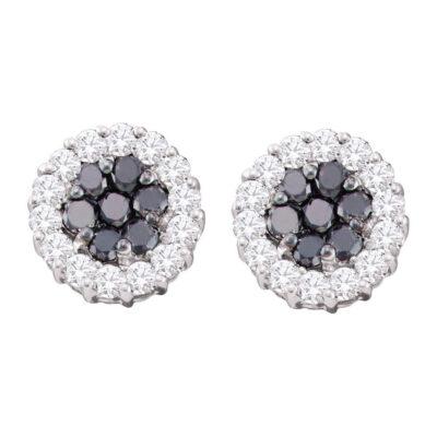 14kt White Gold Womens Round Black Color Enhanced Diamond Flower Cluster Earrings 3/4 Cttw