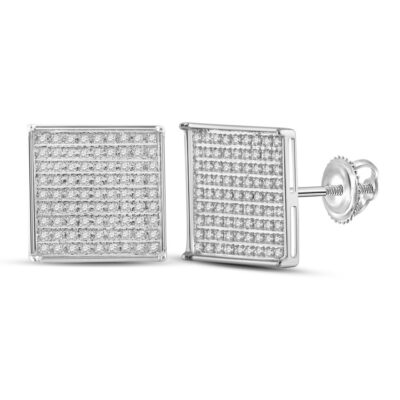14kt White Gold Womens Round Diamond Square Earrings 1/2 Cttw