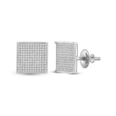 10kt White Gold Womens Round Diamond Square Earrings 7/8 Cttw
